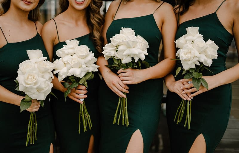 bridesmaids dresses with flowers