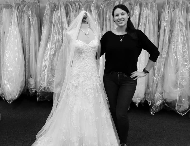 Karie in bridal store with wedding dress in melbourne, FL