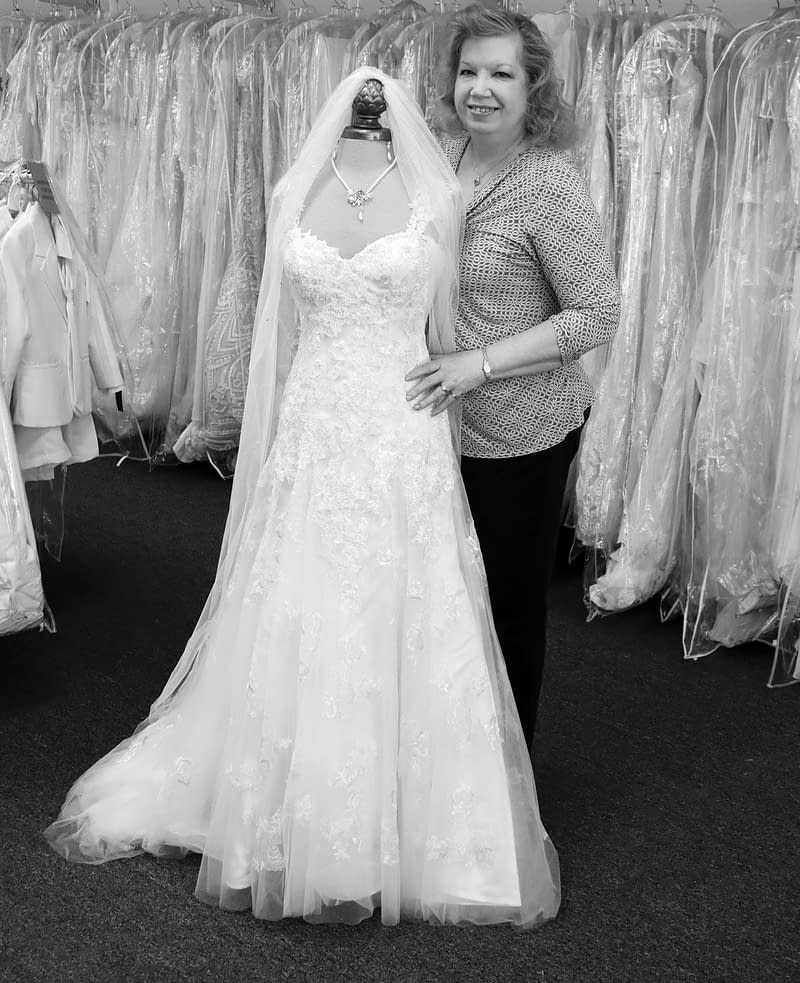 Valerie with wedding dress in bridal store melbourne FL
